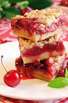 Cherry Pie Crumble Bars.  The cherry pie filling recipe is under dessert dips, sauces, puddigs & frostings.
