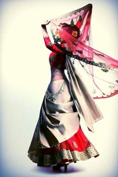 Interesting... Not sure how i feel about this yet.....Red & White #Lehenga.