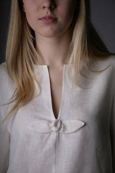 Linen White Tunic with Rose Decor/Linen Tank / Linen Blouse