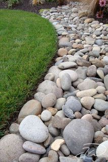 river rock edging/mulch