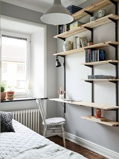 Ideas For Home Office Bookshelves Diy Ikea Hacks Guest Room Office, Home Office Space, Home Office Design, Home Office Decor, Office Bookshelves, Trendy Home, Minimalist Home, Office Interiors, Apartment Living