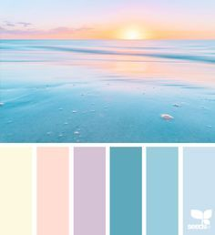 Heavenly Hues by Design Seeds. Pastel color palette that is perfect for the beginning of Spring. Palette Design, Color Schemes Design, Beach Color Schemes, Beach Color Palettes, Blue Palette, Colour Pallette, Pastel Pallete, Sunset Color Palette, Sunset Colors