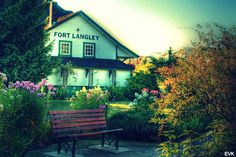 Looking south at the train station in Fort Langley