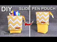 I made Slide Pen Pouch today. It is easy to make and practical. Pencil Case Tutorial, Pencil Case Pattern, Diy Pencil Case, Pencil Pouch, Diy Pouch Tutorial, Zipper Pencil Case, Sewing Hacks, Sewing Tutorials, Sewing Projects