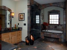 Slate tiled bathroom