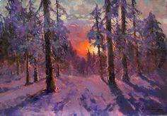 Alexander Kremer. Horizon de feu. Huile sur toile. 35 x 50 cm