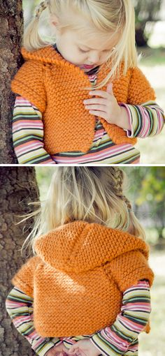 Free Knitting Pattern for Shrug + Hoodie = Shroodie - Child sized shrug with hood knit in garter stitch. Designed by Nicole Johnson. Pictured project by SaraGresbach.
