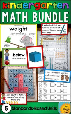 "Teach math to your kindergarten students all year long with these ""I can"" statements, posters, worksheets, and more! Aligned to Common Core standards - counting and cardinality, teen numbers, shapes, operations, and measurement!"