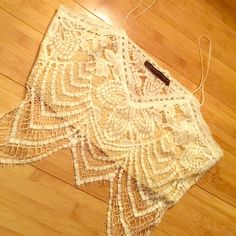 Lace Crop Top ❗JUST REDUCED! Final price Never Worn .. White & Beige. Almost identical to the brand listed below. I'm a size 34C and it fit fine. For Love and Lemons Tops Crop Tops