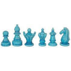 Blue  Chess Piece Set
