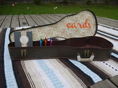 guitar case wedding card box and guest book