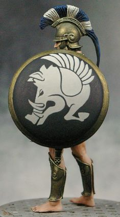 Greek Hoplite 480 BCE - The design on the shield is Chrysaor, a winged boar who is the brother of Pegasus Greek History, Roman History, Ancient History, Ancient Rome, Ancient Greece, Ancient Art, Greek Warrior, Fantasy Warrior, Greek Shield