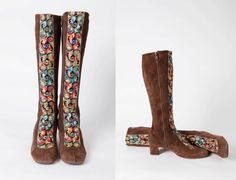 1970s Brown Suede Hippy Boots Multicolor Embroidered by HipZipper