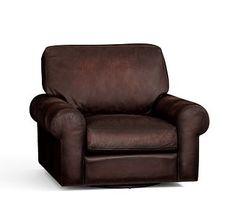 Turner Roll Arm Leather Swivel Armchair #potterybarn