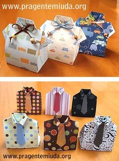 Caixinhas de papel para dia dos pais | Pra Gente Miúda Jw Gifts, Diy Father's Day Gifts, Craft Gifts, Chemise Origami, Paper Crafts Origami, Origami Box, Decorated Gift Bags, Paper Box Template, Gift Wraping