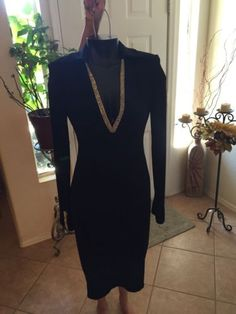 clothing-accessories: Evening Cocktail Dress Black Rhinestone Neck & Sleeve Size 4 Collections Woman's #Fashion - Evening Cocktail Dress Black Rhinestone Neck & Sleeve Size 4 Collections Woman's...