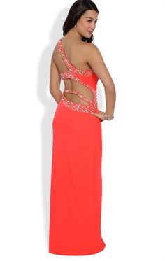 Long Prom Dress with One Shoulder and Open Back with Stone Straps