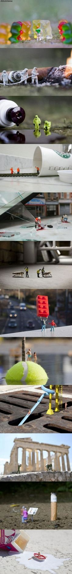 I love the creative uses of everyday objects to create the miniature world. Miniatures