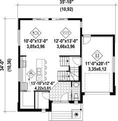This modern design floor plan is 1724 sq ft and has 3 bedrooms and has 1 bathrooms. Town House Floor Plan, House Plans, The Plan, How To Plan, Bungalow, Tiny Balcony, Duplex House Design, Two Storey House, Surface Habitable