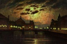 Ernst Hugo Lorenz-Murowana ~The Berlin night. View on The Riksdag building with the Marshall Bridge. Berlin, Still Life, Restoration, Romantic, Landscape, Night, Building, Artwork, Painting