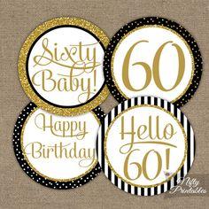 60 Cupcake Toppers - negro y oro brillo - sexagésimo cumple cumpleaños imprimible - elegante Favor de sesenta cumpleaños DIY Etiquetas pegatinas - BGL