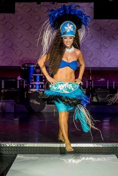 Turquoise/blue Tahitian headdress and feather hip by ISLANDMANA, $395.00