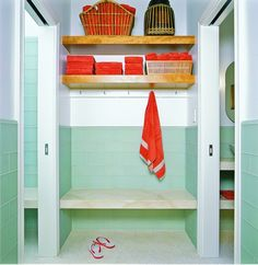 pool house locker.  I like this color combo Pool Changing Rooms, Contemporary Bathrooms, Pool House Bathroom, Bathroom Bench, Bathroom Kids, Beach Bathrooms, Locker Room Bathroom, Basement Bathroom, Orange Bathrooms