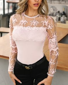Sheer Mesh Lace Insert Casual Blouse Shop- Women's Best Online Shopping - Offering Huge Discounts on Dresses, Lingerie , Jumpsuits , Swimwear, Tops and More. Trend Fashion, Look Fashion, Womens Fashion, Chic Outfits, Fashion Outfits, Tops Online Shopping, Pullover Shirt, Lace Insert, Lace Tops