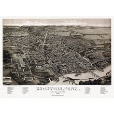 Old Map of Knoxville Tennessee 1886 Knox County Canvas Art - (18 x 24)