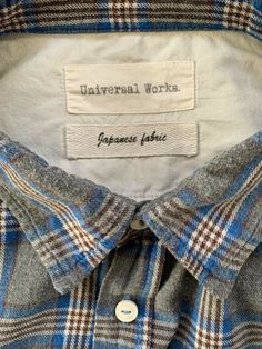 Universal Works Rare Japanese Fabric soft Shirt size L blue check 23 inch Slow Fashion, Mens Fashion, Grandad Shirts, Universal Works, Japanese Fabric, Blue Check, Alpaca Wool, Wool Cardigan, Soft Fabrics