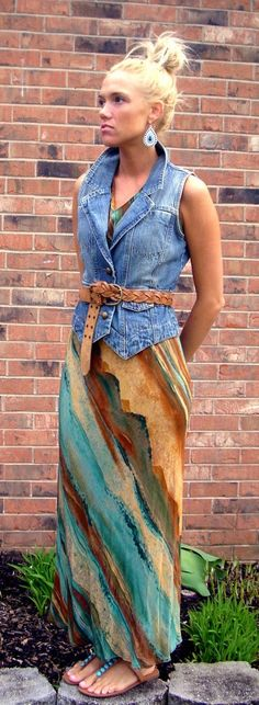 denim vest. maxi dress. summer chic. (Wish I was slim enough to wear THIS! Beautiful!!)