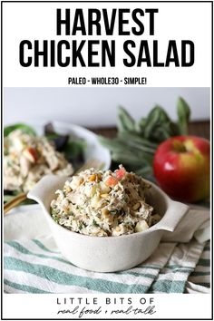 This Harvest Chicken Salad is Paleo and super simple to throw together! Perfect to prep for weekday lunches! This Harvest Chicken Salad is Paleo and super simple to throw together! Perfect to prep for weekday lunches! Paleo Recipes Easy, Clean Eating Recipes, Real Food Recipes, Healthy Eating, Cooking Recipes, Gf Recipes, Healthy Food, Paleo Whole 30, Whole 30 Recipes