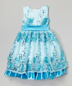 Look at this Blue & White Sequin Floral Dress - Toddler & Girls on #zulily today!