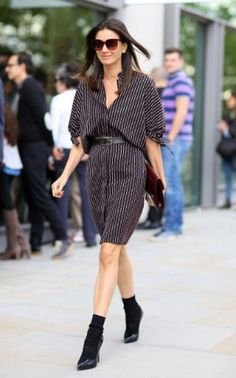 Leila Yavari - London fashion week street style 2015 x Mode Outfits, Fashion Outfits, Women's Fashion, Fashion Killa, Chic Outfits, Fashion News, Fashion Women, Leila Yavari, Striped Shirt Dress