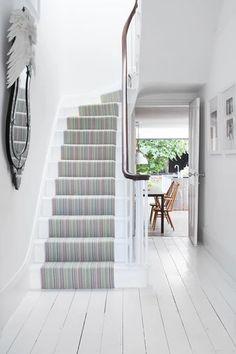 Roger oates kobe jade wool herringbone stair runner carpet in esher surrey. White Hardwood Floors, Hallway Seating, White Stairs, Carpet Stairs, Carpet Runner, Stairways, Kobe, Color Mixing, New Homes