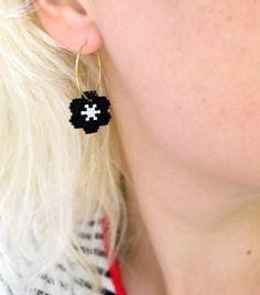 Black Flower White Star Earrings By AmaltheaCph, Danish design Www.amaltheacph.etsy.com