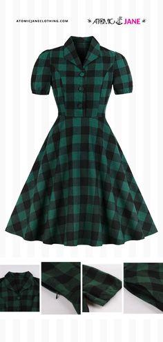 Shop this classic tartan #dress at AtomicJaneClothing.com! #rockabilly #pinup #pinupdress #retrodress #retro Only Fashion, Fashion Beauty, Casual Wear, Casual Outfits, Tartan Dress, Swing Skirt, Rock Chic, Rock Style, Retro Dress