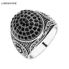 36d764a4f LUBINGSHINE Punk Black Brand Ring Antique Silver Color Paved Crystal  Wedding Men Rings Party Jewelry Accessories anillos bague