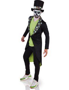 Déguisement Dia de los muertos homme Halloween : Ce déguisement de Dia de los muertos pour homme se compose d'une veste et d'un chapeau (haut, pantalon et chaussures non inclus). La veste longue est noire avec une doublure vert clair...