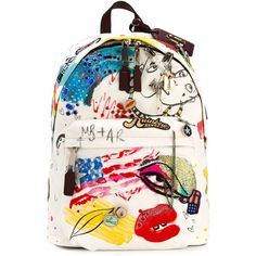Marc Jacobs Collage Canvas Backpack ($641) ❤ liked on Polyvore featuring bags, backpacks, accessories, backpack, bolsas, ivory, decorating bags, canvas bag, pink bag and canvas knapsack