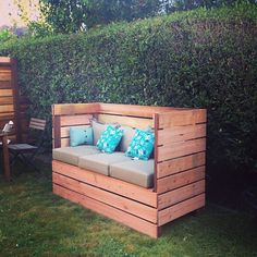 "DIY outdoor couch. Pressure treated lumber and Redwood.  72""x48""x30""  Photo by calepeeples"