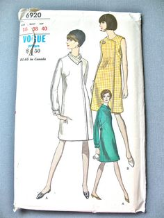 Uncut 1960s Vogue 6920 One-Piece Dress Semi-Fitted by Fancywork
