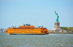 RIDE THE STATEN ISLAND FERRY Enjoy a 25-minute trip from Manhattan to Staten Island via this Staten Island Ferry. The ride offers views of the Statue of Liberty, Ellis Island, and the skyline, as it takes you from Whitehall Street in lower Manhattan to St. George on Staten Island. More than 22 million people travel on the ferry each year, with about 109 trips per day. With five boats on rotating schedules (four on weekends), you can catch the ferry regularly throughout the day.