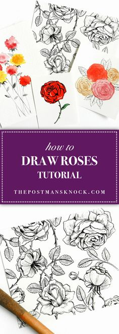 This step-by-step tutorial teaches you how to draw roses five different ways. You'll be surprised at how quickly and easily you can draw beautiful flowers!