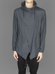SS14 w/ D. by D. high neck off centre zip closure with zip detail and drawstring at bottom hem