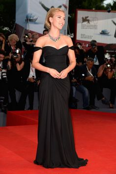 Scarlett Johansson  in a black gown from Versace, Bulgari jewellery and Roger Vivier shoes, at the 70th annual Venice Film Festival.