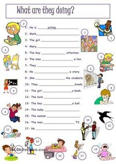 Here the students have to use present continuous to describe the pictures. - ESL worksheets