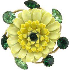 Vintage Yellow Enamel Mum Flower Pin