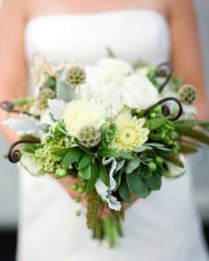 """Eclectic Bouquet - garden roses added to this would be divine """"Fresh millet, bay laurel, and succulents combine in this bouquet full of natural beauty."""" Love this for a green and brown wedding! White Wedding Bouquets, Wedding Flower Arrangements, Bride Bouquets, Floral Wedding, Floral Arrangements, Wedding White, Autumn Wedding, Floral Bouquets, Fleur Design"""