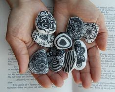 set of 9 black and white painted greek sea beach pebble decorative zen stones with abstract geometric designs by WiseFriday on Etsy